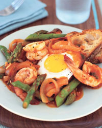shrimp asparagus and eggs